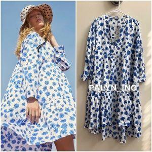 ZARA FLORAL PRINT ASYMMETRIC DRESS